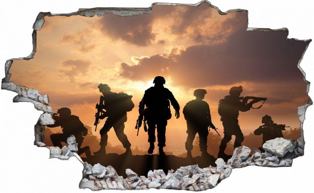 Soldati MILITARE Tramonto Muro Tatuaggio Parete Adesivo Parete Adesivo c0212