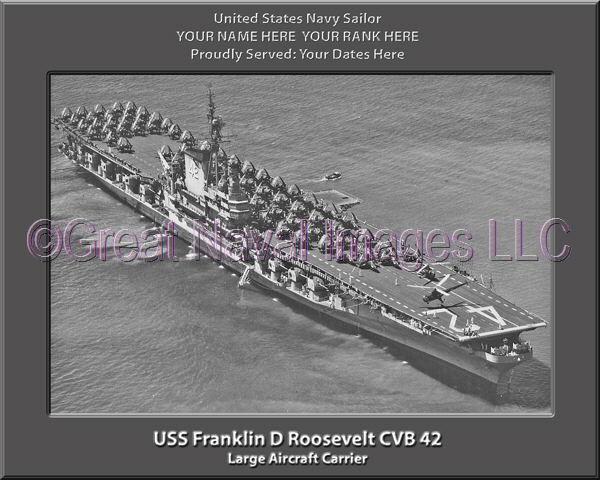 USS Franklin D Roosevelt CVB 42 Personalized Canvas Ship Photo Print Navy Vet