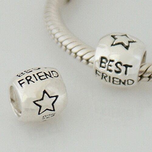 Mejor amigo Espaciador-Star-sólido 925 plata encanto grano europeo