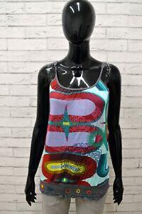 Maglia-DESIGUAL-Donna-Taglia-Size-M-Maglietta-Canotta-Blusa-Shirt-Woman-Regular