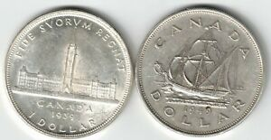 2-X-CANADA-SILVER-DOLLARS-KING-GEORGE-VI-800-SILVER-COINS-1939-amp-1949