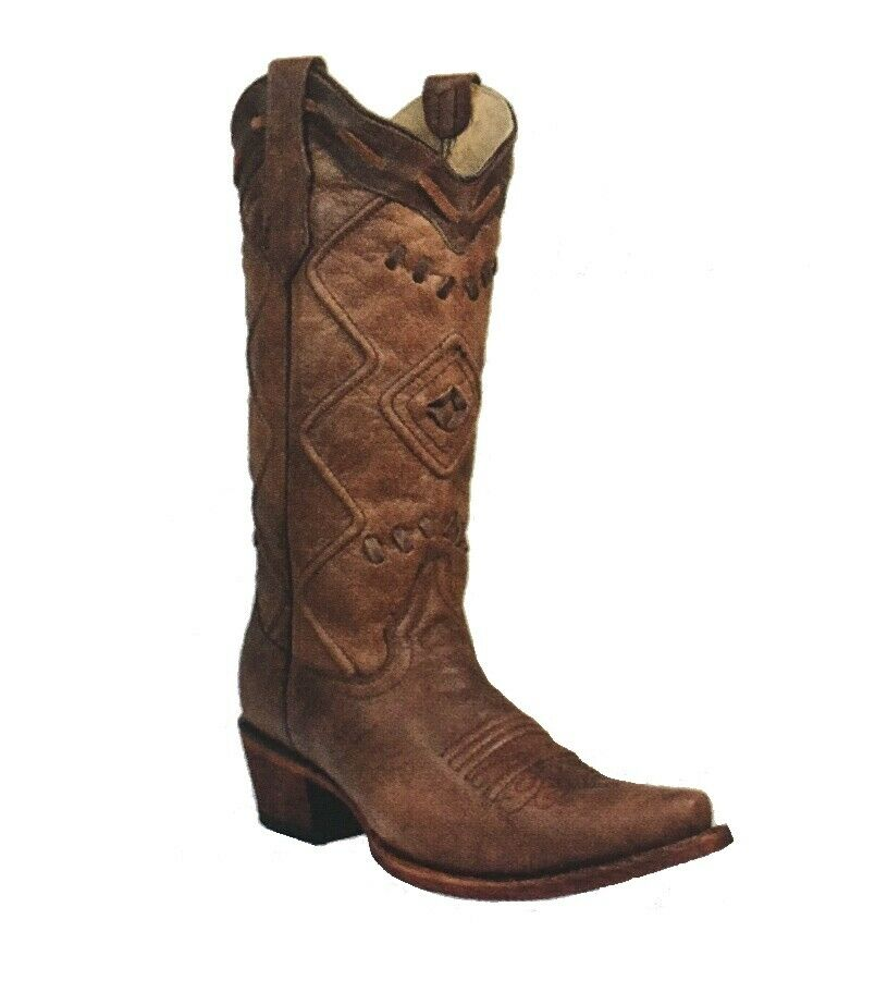 Corral Women's Embroidered Woven Snip Toe Western Boots Brown Corded L5306