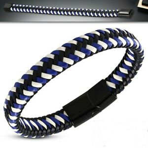 Braided Leather Bracelet Magnetic Slide Clasp Surgical Steel Blue Black White