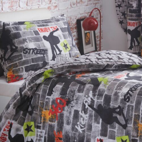 Skateboard Tricks Einzelbettbezug Set Graffiti Jungen Kinder Teenager Bettwäsche