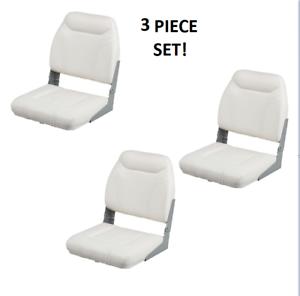 Folding Boat Seats 3PC Boating Fishing Pontoon Set  White Vinyl Tax included