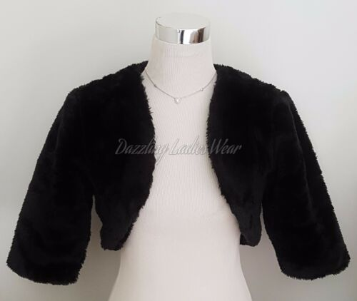 Black Faux Fur Bolero//Jacket//Shrug//Stole//Tippet//Shawl//Wrap  Satin Lining 3//4