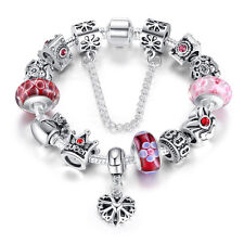 DIY European 925 Silver Charms Bracelet Snake Chain with CZ and red beads fit