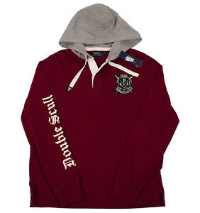c18f19c2 Details about POLO RALPH LAUREN MEN'S M L BOATHOUSE RED GREY COTTON HOODIE  DOUBLE SCULL 15