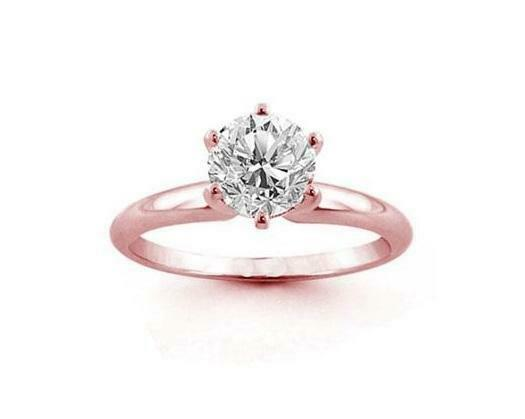 Solitaire Engagement Ring Natural Diamond 1 2Ct 14Kt pink gold Prong Set 6.15MM