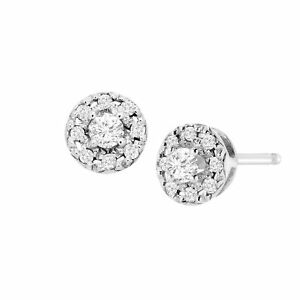 1/4 ct Diamond Round Halo Stud Earrings in Sterling Silver