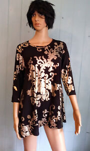 bee50b033cc240 Jostar 3 4 Sleeve Tunic TOP Layered BLACK   GOLD SLINKY Wrinkle Free ...