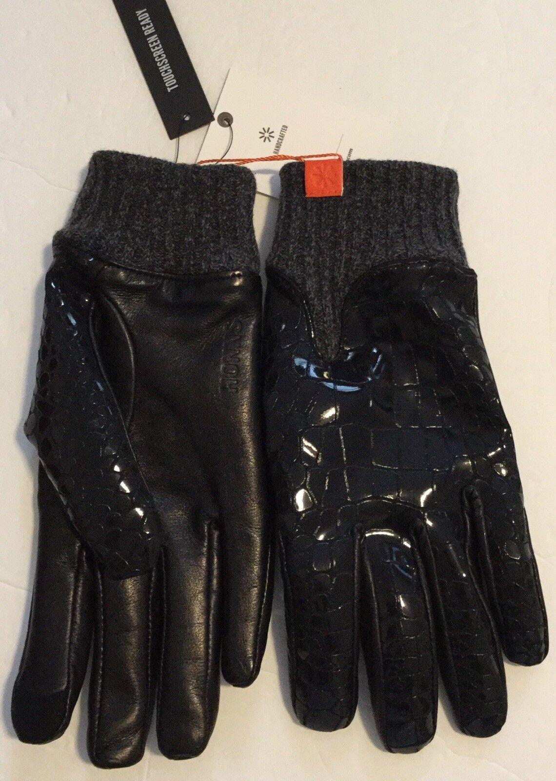 Honns Mens Leather Gloves Black Patent Noir Touchscreen Size Large 10 Logan Wool