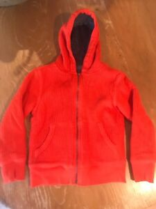 NEW Gap Kids Orange Hoodie Boys Girls Hooded Zip  Size S 6-7 6-7 Yrs Arch Logo