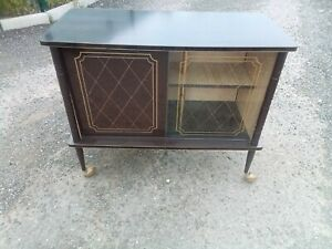 Meuble TV télé vintage placage palissandre formica vitrine formica années 50-60