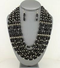 Seven Layers Black Faceted Lucite Bead Gold Tone Bead Necklace Earring Set