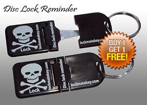 Black-Metal-Tip-Disc-lock-reminder-Motorcycle-Accessories-By-Lock-Mate-Key