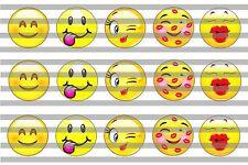(60) Emoji v2 Bottle Cap Image Pre-Cut 1 inch