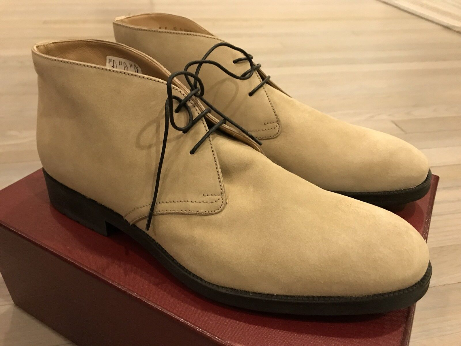 f78a244f58d 750 Bally Robik Beige Suede Ankle Boots Size US 11 Made in Switzerland