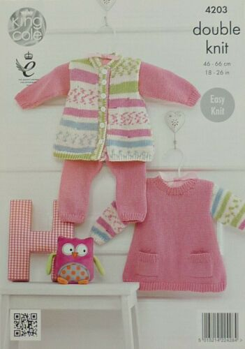 Dress with Pockets and Leggings DK King Cole 4203 KNITTING PATTERN Baby Jacket
