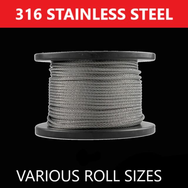 Marine Stainless Steel Grade 316 Wire Cable Decking Rope Balustrade 7 x 7- 3.2mm