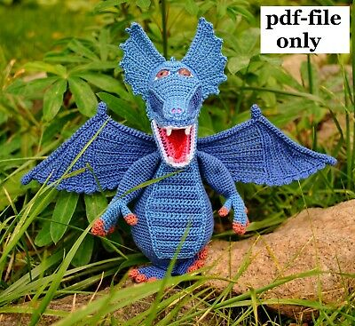 doll and finger puppet options Crochet Pattern Dragon Dinosaur Amigurumi