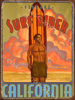 Vintage Surf Rider Metal Sign, Retro Hawaiian Lifestyle, Coastal Beach Bar Decor