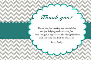 30 Chevron Thank You Card Notes Teal And Grey Adult Kids Birthday