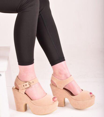 Ladies Womens Low Mid Heel Buckle Platform Sandal Casual Peep Toe Sandal Shoes