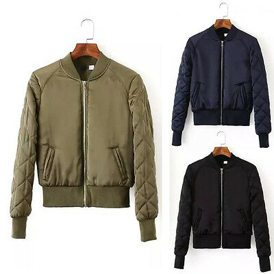 Women Retro Quilting Quilted Thin Padded Bomber Jacket Coat Pilots Outerwear Top
