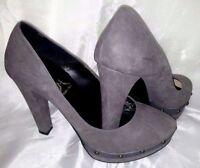 Scarpe donna Decoltè 37 Grigio Borchie Tacco Plateau Woman Shoes Heel Schuhe