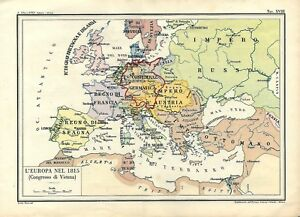 Cartina Dell Italia Nel 1815.Map Ancient Europe In 1815 Congress Of Vienna 1945 Old Antique Map Ebay