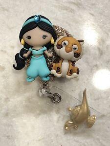 Disney-Princess-Jasmine-amp-Rajah-ID-Badge-Holder-Retractable-Reel-clip-on-RN-gift