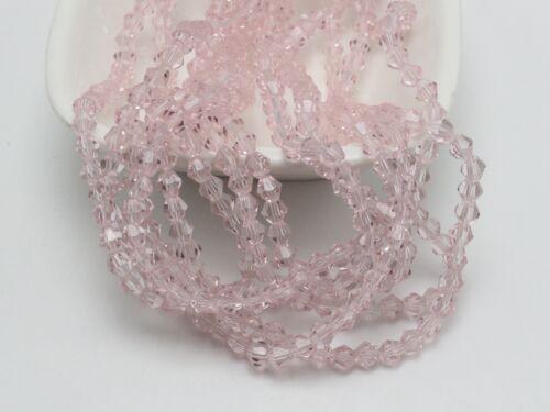 120pcs 4 mm Bobine biconique perles à facettes cristal perles de verre ~ rose
