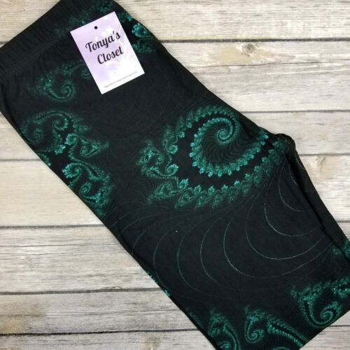 PLUS Green Black Abstract Leggings Paisley Buttery Soft Curvy 10-18 TC