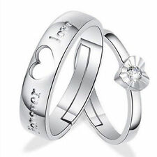 USA Romantic Heart Crystal Couple Rings Her and His Promise Matching Ring