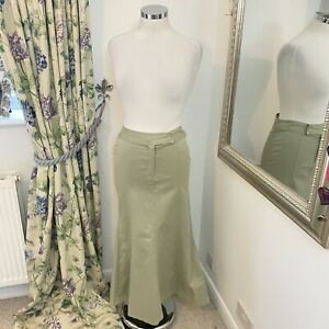 East Size 8 natural long thick cotton blend midi skirt A line smart casual NEW