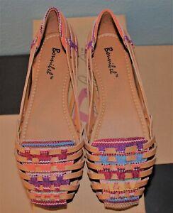 Bonnibel-Women-039-s-7-5-ESPADRILLE-style-Boheme-1-Tan-Multi-Flats-Sandals-SHOES-New