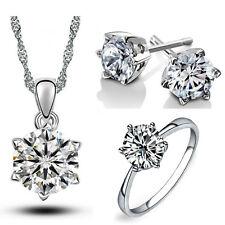 Bridal Jewellery Set Diamond White Small Zircon Stud Earrings Necklace Ring S538