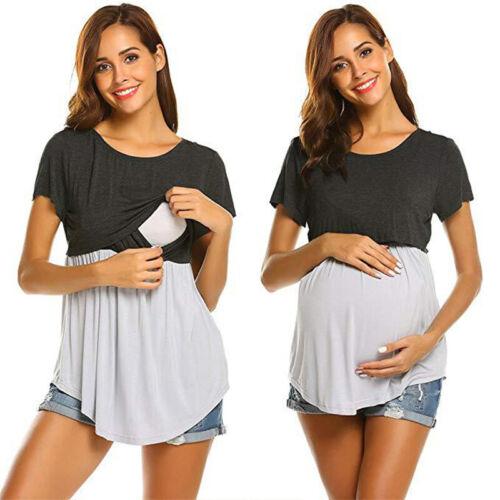 Womens Maternity Breastfeeding Short Sleeve T-Shirt Nursing Pregnant Tops Blouse