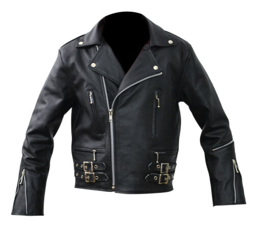 Men/'s Brando Motorcycle Biker Black Real Thick Leather Jacket Perfect All sizes