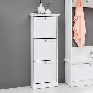schuhkipper landwood schuhschrank schuhregal in wei mit 3 klappen landhausstil ebay. Black Bedroom Furniture Sets. Home Design Ideas