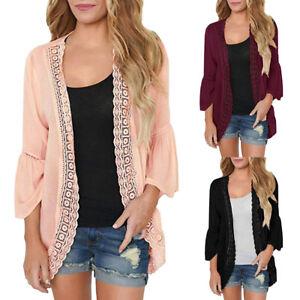 Autumn-Women-Kimono-Loose-Lace-Chiffon-Cardigan-Jacket-Blouse-Tops-Shirt-Coat-AU