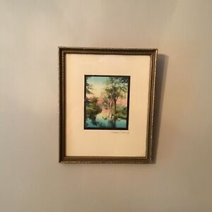 Wallace-Nutting-Minature-3-X4-Print-Signed-A-Sunset-On-The-Water