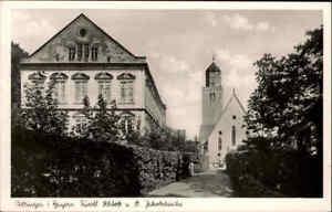 Oettingen in Bayern ~1940 Straßen Partie am Schloss mit St. Jakobskirche AK