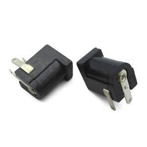 10 × Direct Current Power Supply Jack femelle femelle Carte De Circuit Imprimé De Montage Connecteurs 5.5x2.1mm Noir