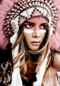 Image Is Loading Girl Native American Indian Headdress Woman War