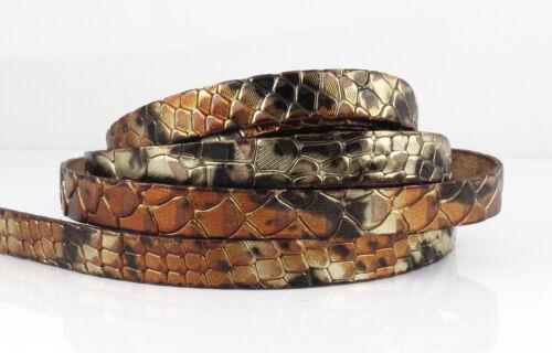 Armband EU-Ware 40 cm Lederband-Reptilhautprägung gold metallic 10 x 2 mm