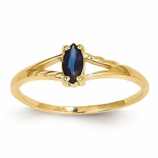 14K gold 6 MM Sapphire September Birthstone Marquise Ring, Size 7 MSRP  352