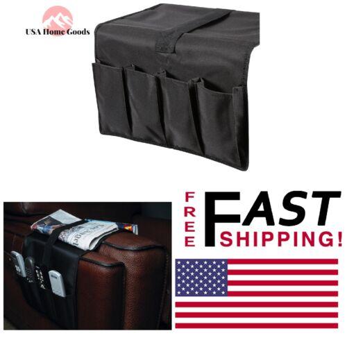 Black Armrest Remote Control Caddy Storage Washable Nylon Sofa Chair Organizer