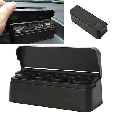 Car Auto Interior Coin Case Storage Box Holder Container Organizer Black New